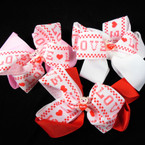"5"" 2 Layer Lace Gator Clip Bows w/ Love Ribbon & Love Bear  .54 each"