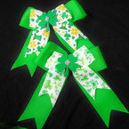 "5.5"" X 6"" St. Patrick's Day Theme Tail Gator Clip Bows 2 styles .56 each"