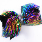 "5"" 2 Layer Multi Color Sequin  Gator Clip Bows w/ Cry. Stone Center  .54 each"