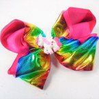 "5"" 2 Layer Rainbow Metallic  Color Gator Clip Bows w/ Unicorn Center  .54 each"