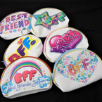 "3.5"" X 5"" Oval Best Friends Theme Zipper Coin Bag 12 per pk .58 each"