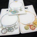 Gold & Silver Wire Bangle Bracelet w/ Tree of Life Mixed  Charms  .56 ea