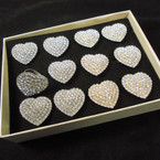 Sweetheart Crystal Stone Heart Rings 12 per bx Adjustable Band  .54 each
