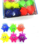 "4"" Happy Face Puffer Light Up Balls w/ Crazy Hair 12 per bx .62 each"