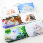 "5"" Cat Theme Zipper DBL Sided Coin Purses w/ Silver Stars 12 per pk .58 each"