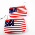 """5"""" USA Flag Zipper DBL Sided Coin Purses  12 per pk .58 each"""