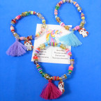 Unicorn Stretch Bracelet w/ Charm & Tassel  12 per pk  .54 each