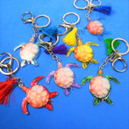 "2"" Colorful Turtle Metal Keychains w/ Tassel  12 per pk .56 each"