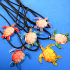 "18"" Braid Black Cord Necklace w/ Colorful Turtle Pendant 12 per pk .56 each"