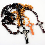 "36"" 10MM Wood Bead Rosary w/ Large Cross w/ Jesus 12 per pk .58 each"