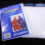 Waterproof Emergency Rain Poncho All White 12 per pk .56 each