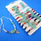 Cord Beaded Bracelets w/ Sealife Charms 12 per card .56 each