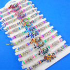 Cord Beaded Bracelets w/ Multi Color Elephant Charm 12 per card .54 each