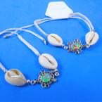 White Macrame Bracelet w/ Cowrie Shell & Seed Bead Turtle 12 per pk .54 each