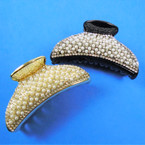 "3"" Black & Gold Jaw Clips w/ Pearl & Cry. Stones 12 per pk .54 each"