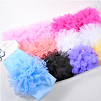 "2.5"" Stretch Headband w/ 3 "" Lace Bow w/ Pearls Pastel Colors .52 each"