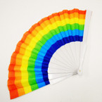 "9"" White Handle Rainbow Hand Fans 12 per pack  .56 each"