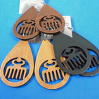 "3"" Oval Wood Earrings w/ Hair Pic 3 colors .54 per pair"