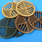 "3"" Round Laser Cut Wood Earrings 3 colors  .54 per pair"