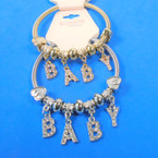 Gold & Silver Spring Style Bracelet w/ Cry. Stone BABY  Charms  .56 ea