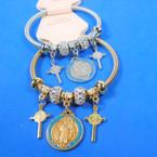 Gold & Silver Spring Style Bracelet w/ San Benito Charm & Crosses  .56 ea