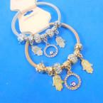 Gold & Silver Spring Style Bracelet w/ Hamsa Charms  .56 ea