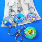 "2"" Glass DBL Sided Keychains Shark Theme Asst Styles  12 pk .56 each"