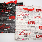 "10"" X 12.5"" Best Quality Love Theme Gift Bags Matt/Glitter 12 per pk .55 each"