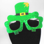 "6.5"" X 5"" Green Sparkle St. Patrick's Day Novelty Lenseless Glasses 12 per pk  .62 each"