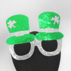 "6"" X 4.5"" Green & Silver Sparkle St. Patrick's Day Novelty Lenseless Glasses 12 per pk  .62 each"