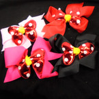 "6"" Gator Clip Bows  w/ Metallic Poka Bow in Center 4 colors .54 each"