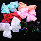 "5"" 2 Layer Gator Clip Bows  w/ Round Sequins Mixed Colors  .54 each"