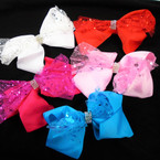 """5"""" 2 Layer Gator Clip Bows  w/ Sparkle Lace & Cry. Stones   .54 each"""