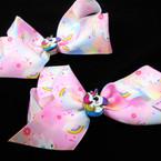 "6"" Unicorn Print Gator Clip Bows  w/ Colorful Unicorn    .54 each"