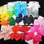 """3 Pack 3.5"""" Gator Clip Bows  w/ Clear Stones Many Colors     .54 each set"""