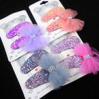 """2 Pack 2.5"""" Sparkle Snap Clip w/ Lace Bow Set Asst Colors .54 per set"""