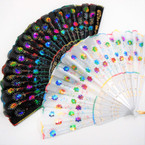 "9"" Black & White Sequin Sun Brust Hand Fans .56 each"