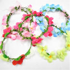 Asst Color Flower Hair Garland/Halo 12 per box (1138)  .56 each