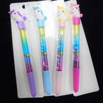 "7.5"" Rainbow Water Glitter Rainbow Unicorn Theme Ink Pen 12 per pk . 58 each"