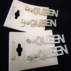 "2"" Gold & Silver Crystal Stone Queen Earrings .54 per pair"