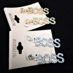 "1.5"" Gold & Silver Crystal Stone BOSS Earrings .54 per pair"