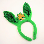 "10"" Tall  St. Patrick's Day Novelty Headbands Sparkle Bunny Ears 12 per pk .62 ea"