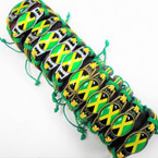 Teen Leather Bracelet w/ Jamaica Flag Theme 12 per pk .54 each