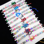 Cord Beaded Bracelets w/ Colorful Turtle Charm  12 per card .54 each