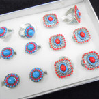 2 Style Southwest Bead Silver Fashion Rings 12 per bx .56 each