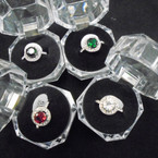 Gold & Silver Round Crystal Stone Rings in Gift Box 12 per pk  $ 1.00 ea