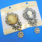 Gold & Silver Crystal Stone Cameo Broaches  12 per pk .60 each