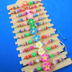 Cord Beaded Bracelets w/ Fimo Flower  Charm  12 per card .54 each