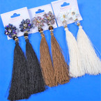 "5"" Tassel Fashion Earring w/ Sparkle Glitter Top 3 colors .56 per pair"