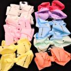 "5.5"" Pastel Color Gator Clip Bows w/ Lace & Gold Metallic .54 ea"